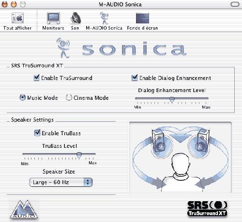 Le driver OS X de l'interface audio Sonica de M-Audio